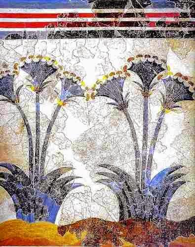 lilies fresco from akrotiri, minoan