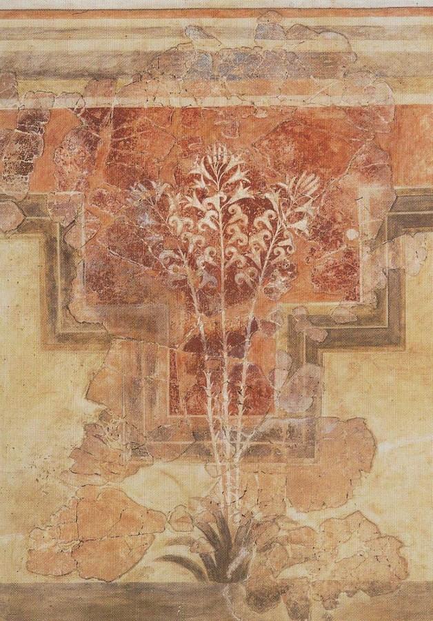 Фреска с лилиями из виллы в Амниссосе. XVII в. до н. э. Минойская культура