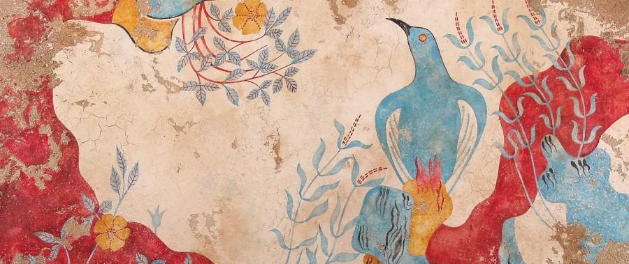 фреска с голубой птицей