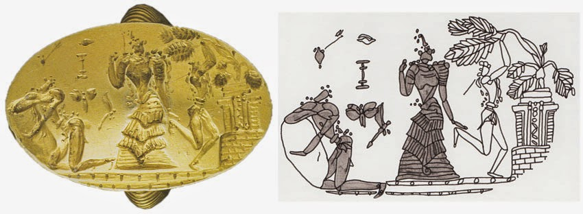 Arkhanes-Fourni ring, 1600-1480 bce Minoan, shows man embracing rock, goddess in epiphany, and tree pulling ceremony