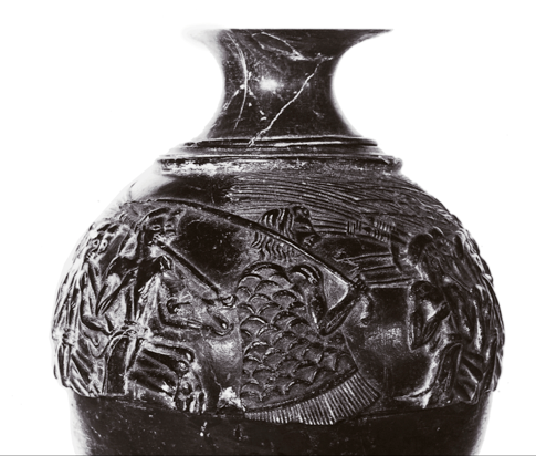 priestess with scaled clothing, from the harvester vase