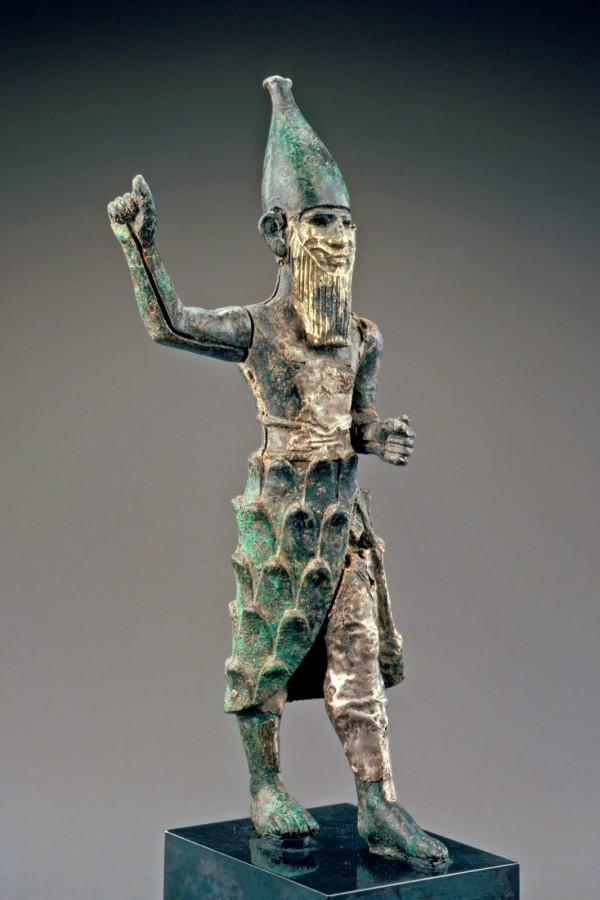 Hittite Bronze, Silver and Electrum Mountain God Figurine, c. Mid-2nd Millennium BC