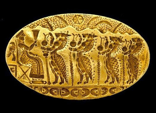 Largest known Mycenaean Ring. Tiryns Signet Ring, Late Helladic c. 15th C BCE.