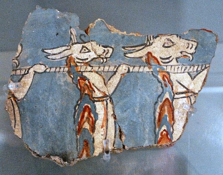 Fresco fragment with daemons from ramp house deposit, Mycenae.