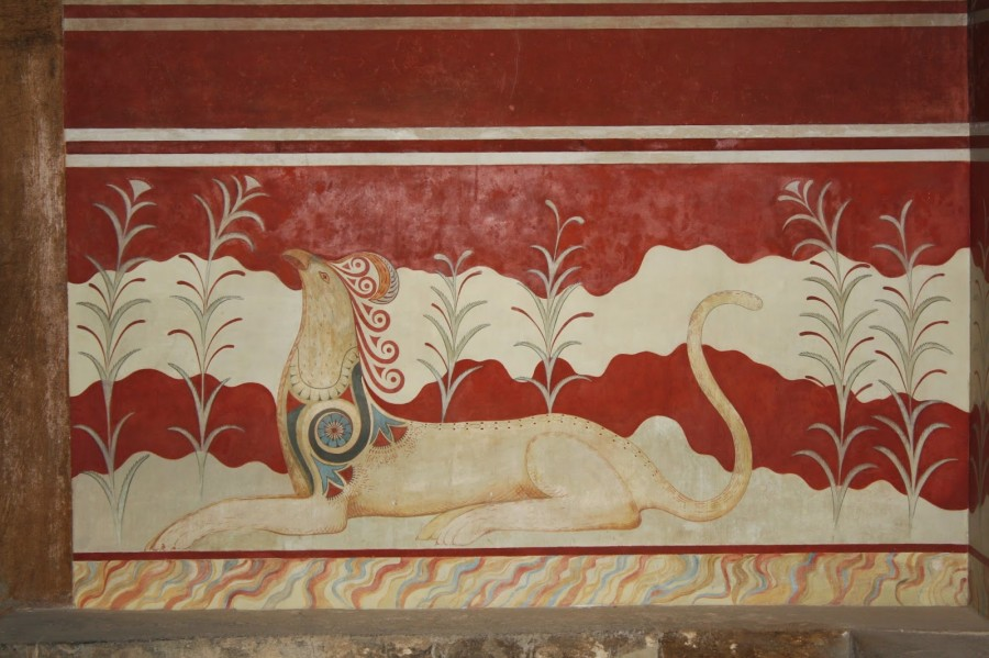 Detail of the griffin fresco from the throne room, palace of Knossos, Crete, 1700-1450 bce