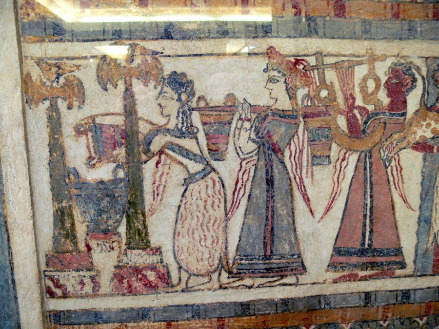 A photograph of priestesses pouring libations on side A of the Agia Triadha sarcophagus