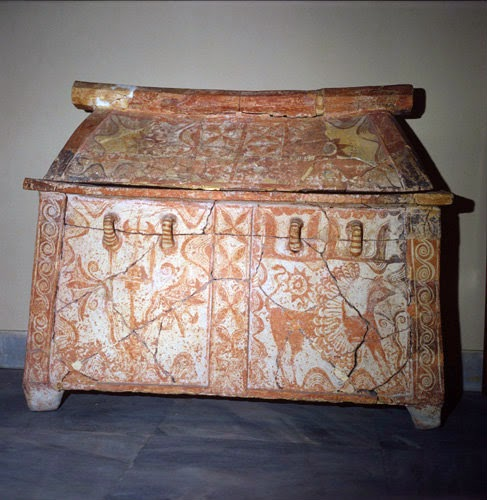 a painted Minoan larnax, at the Herakleion museum
