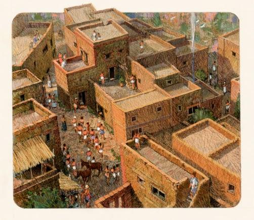 reconstruction of Akrotiri, Thera, Minoan colony