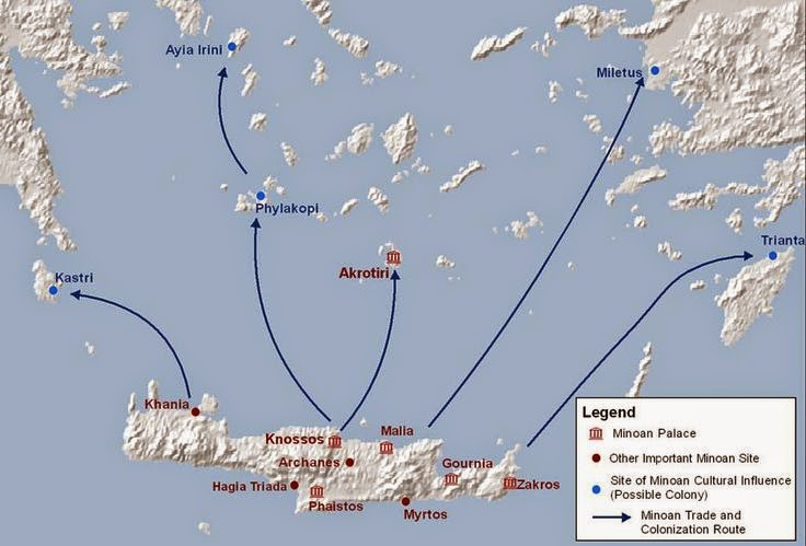 map of Minoan crete and surrouding trade nodes