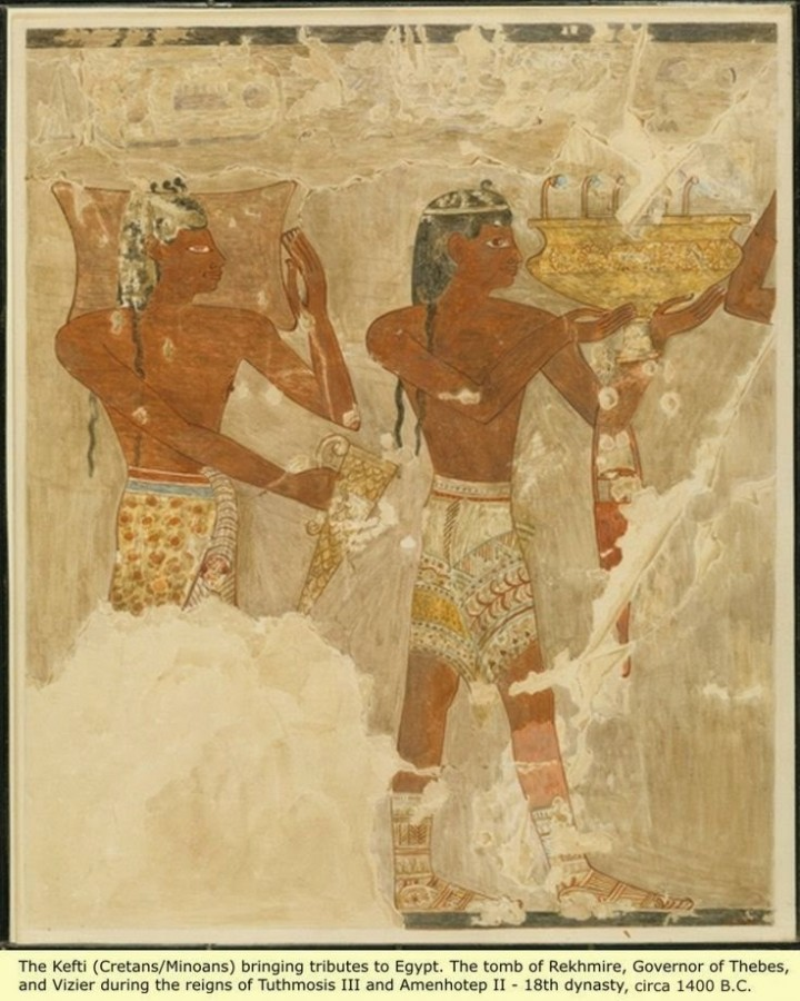 Minoans bringing tribute to egypt from the tomb of rekhmire the governor of thebes and vizier under tuthmosis iii and amenhotep ii, ca 1400 bce