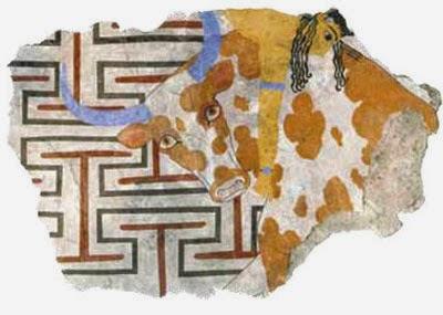 detail of Minoan fresco of bull leaping at Avaris