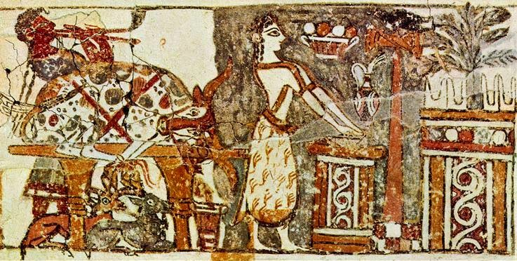 A clearer image of the priestess at an altar by the bull sacrifice on side B of the Agia Triadha sarcophagus