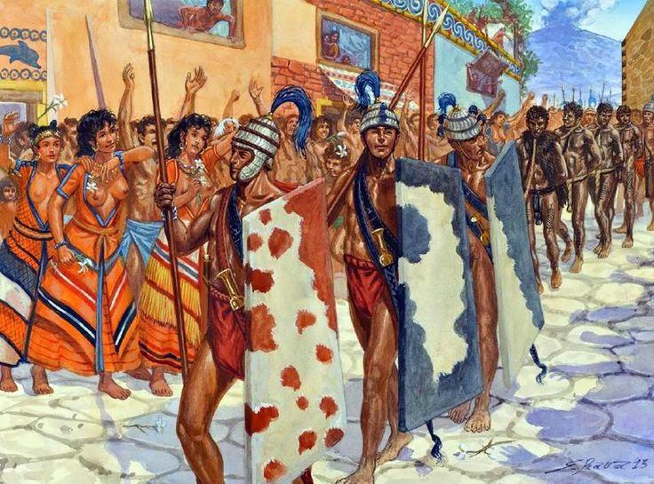 Minoan warriors with libyan prisoners in the city of Akrotiri on the island of Santorini