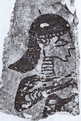 fresco from Tiryns dated LH IIIC showing strange helmet and ringed neck protection