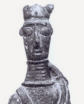 ringed neck protection from bronze statuette of warrior from Sardinia 800s bce
