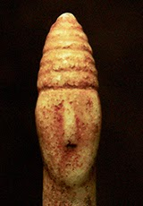 possible helmet figurine from Cycladic culture ca 3200-2800 from Louros