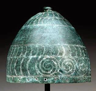 one conical bronze helmet from Aegean or balkan area 1200s-1300s bce