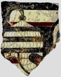 blue and white boar tusk helmet from akrotiri fresco ca 1600 bce