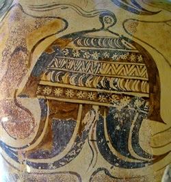 helmet from a vase from katsamba crete ca 1500 bce