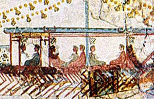 detail of the theran naval fresco showing helmets hung from the roof