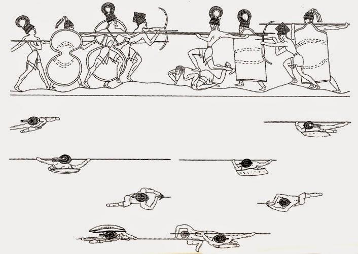 explanation of warriors on silver rhyton from shaft grave IV mycenae