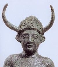 horned helmet on statue from Enkomi Cyprus LH IIIC