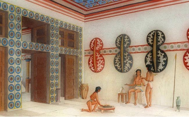 reconstruction of the hall of the shields at Knossos
