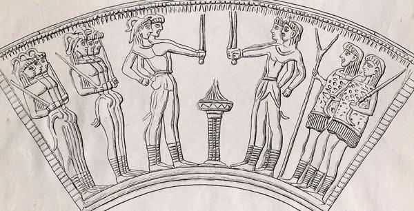 Minoan short swords shown on cup 1700-1550 bce