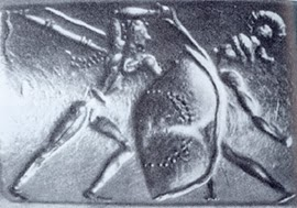 seal from shaft grave III, Mycenae, ca 1550 bce, shows type A sword stabbing