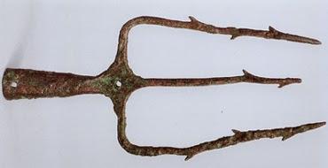 bronze trident from Agios Nikolaos Crete ca 1450 bce