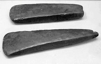 two copper axes from Sesklo, Greece, 4500-3300 bce
