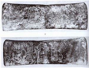 double axe head from Voros Crete LM III showing figure 8 shield