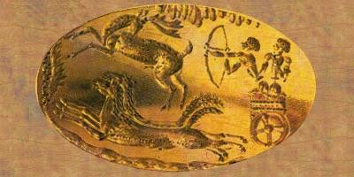 Mycenaean seal of a chariot hunter, ca 1600 bce