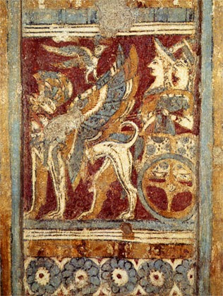 Goddess in a chariot with a griffon, from the side of the Agia Triadha sarcophagus