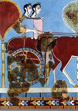 fresco of female figures in chariot from Tiryns