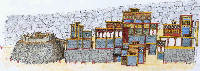 illustration of the west slope buildings at Mycenae during the 1200s, in fresco style, by Diana Wardle