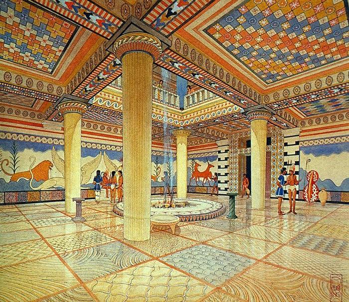 reconstruction of the Mycenaean palace at Pylos