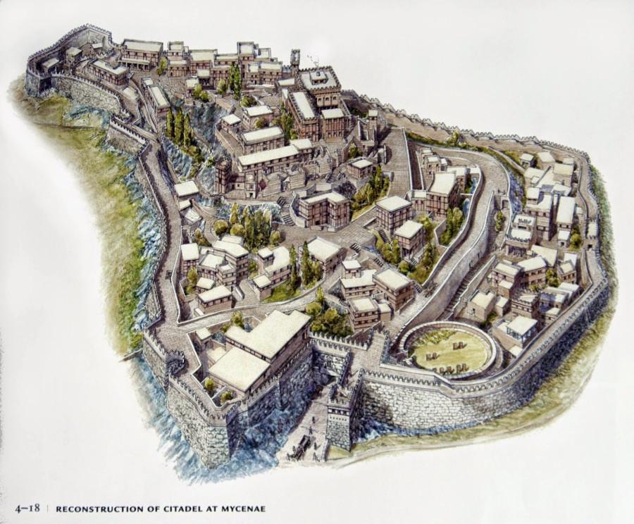 beautiful reconstruction of the citadel at Mycenae