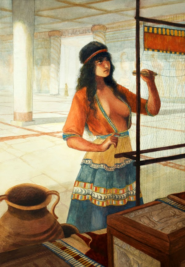 reconstruction of a Mycenaean woman weaving in a palace