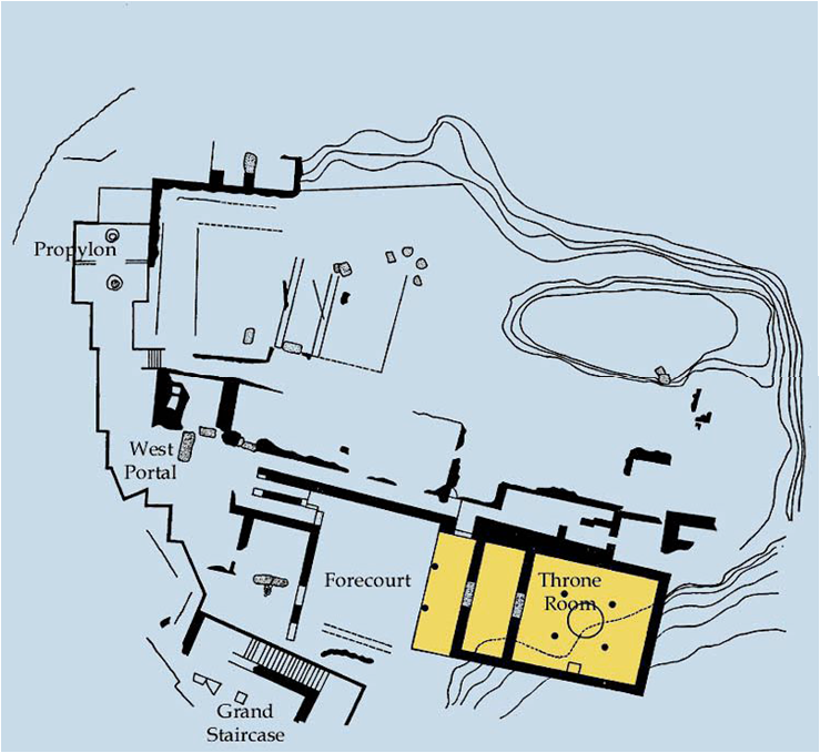 map of the throne room also callee megaron in the citadel of Mycenae