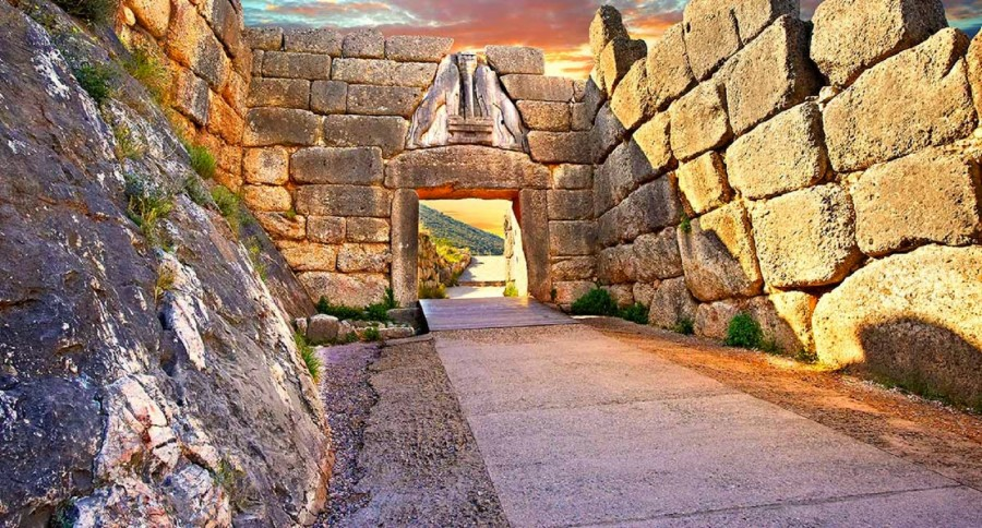 The Lion Gate at Mycenae with glorious lighting