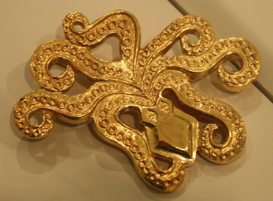 A gold Mycenaean brooch in the form of an octopus, Mycenae, mid 2nd millenium BCE
