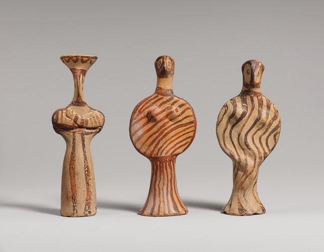 three Mycenaean figurines, 1400-1300 BCE