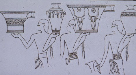 Egyptian painting showing Aegean or Mycenaean vases
