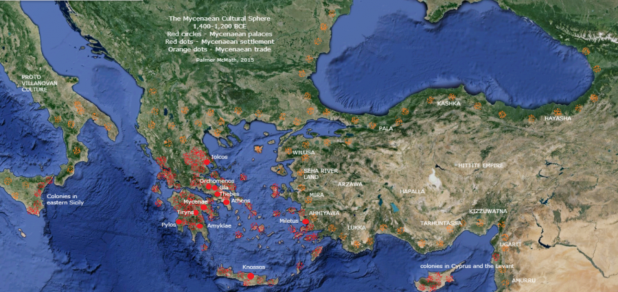 1400-1200 bce, Map of Mycenaean culture and colonies, by palmer mcmath