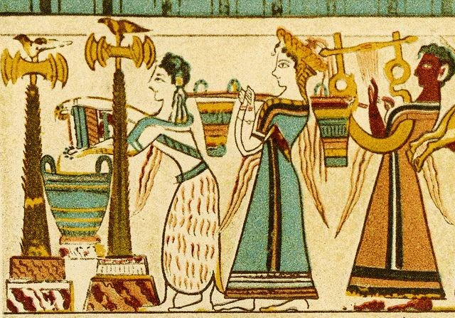 Detail of priestesses giving offerings to a shrine between two double axe icons, from the Agia Triadha sarcophagus