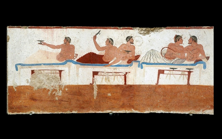 Симпозий. From the North Wall of the Tomb of the Diver in Paestum, Italy. c. 480-470 BCE.