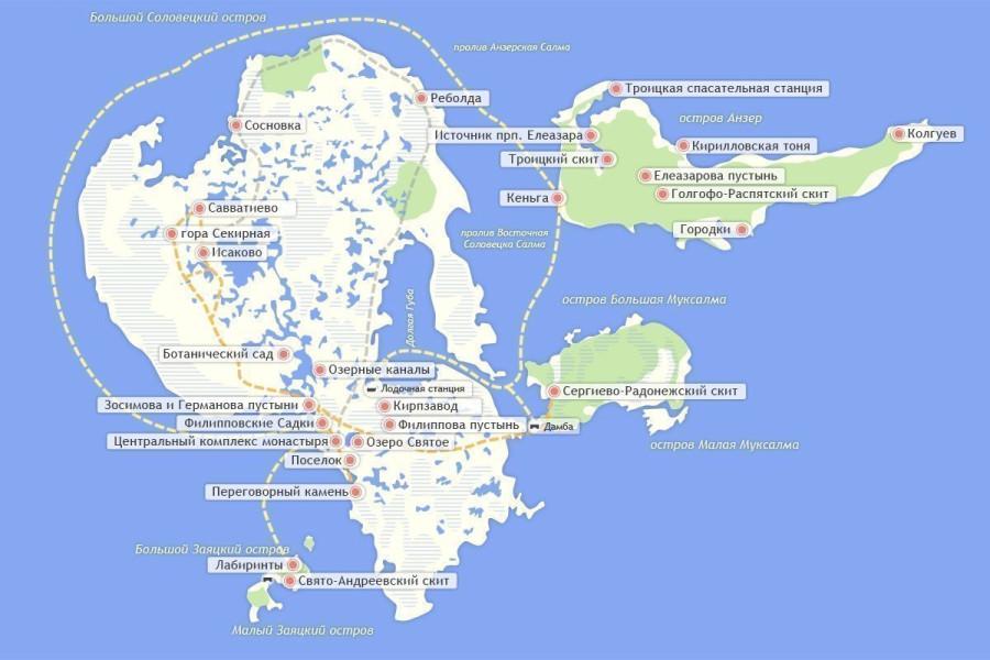 Karta-Solovetskikh-ostrovov-s-dostoprimechatelnostyami