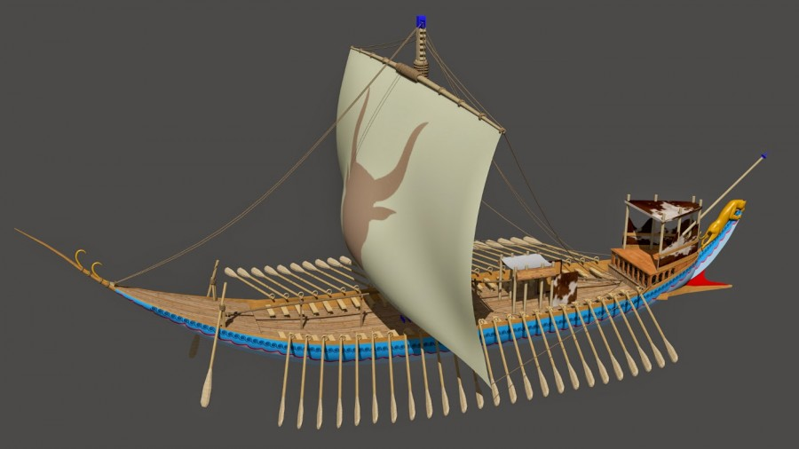 A 3D reconstruction of one of the Minoan galleys as seen in the Theran Naval fresco