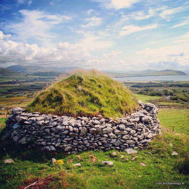 An early clochan (stone hut) overlooking Ventry bay, Co Kerry